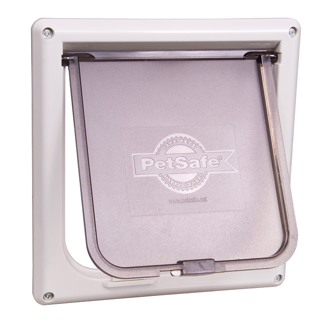 "Give your cat access to her litter box without giving her litter box access to your home! This durable cat flap fits any interior door that's 1"" to 2"" (2.5 cm - 5 cm) thick. Your cat can come and go from the room where her litter box is housed – even when the door is closed. A sliding lock gives you the option to bar access whenever you choose. WARNING: Small children can pass through door.     Read Entire Statement  View door cut-out dimensions chart"